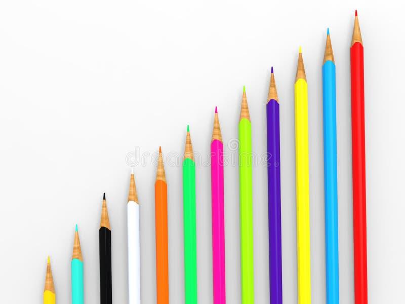 Lápices brillantemente coloreados de diversas longitudes imagenes de archivo