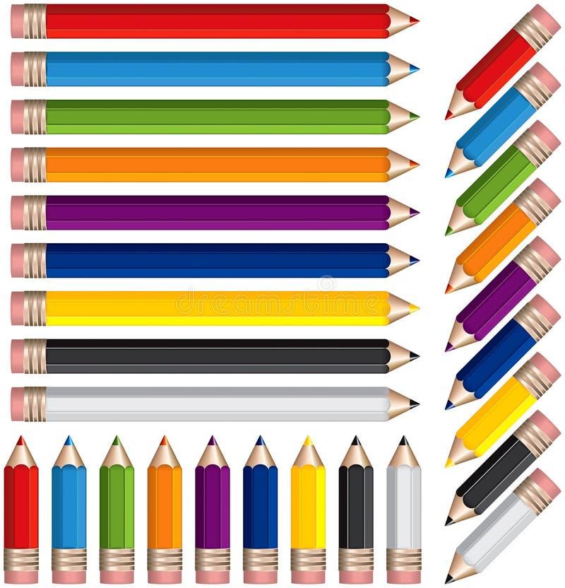 Lápices coloreados stock de ilustración