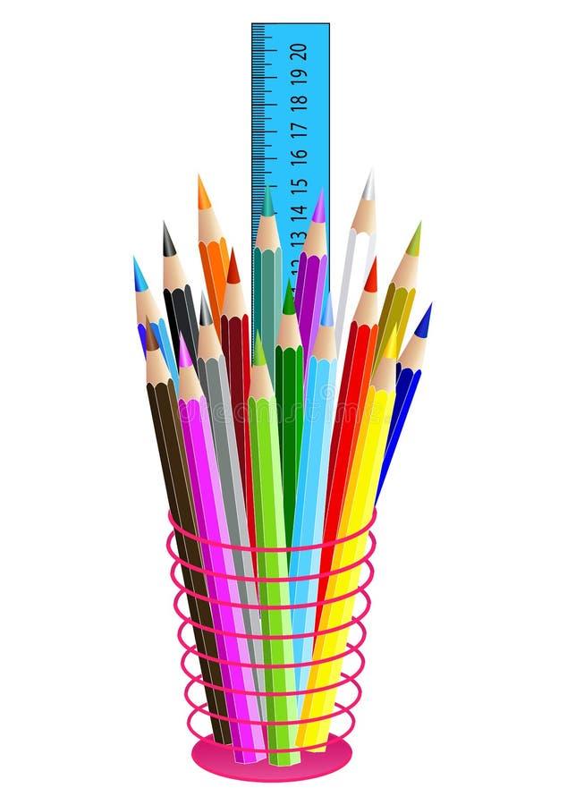 Lápices coloreados en una caja de lápiz, aislada en blanco Vector stock de ilustración