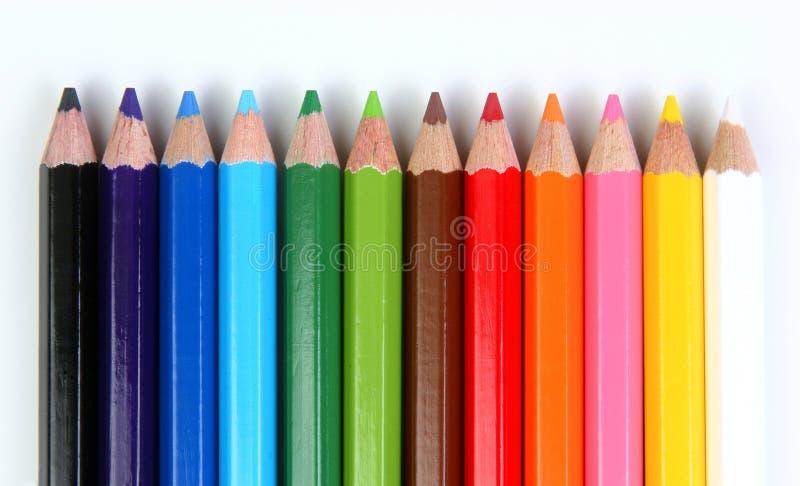 Lápices coloreados horizontales fotografía de archivo