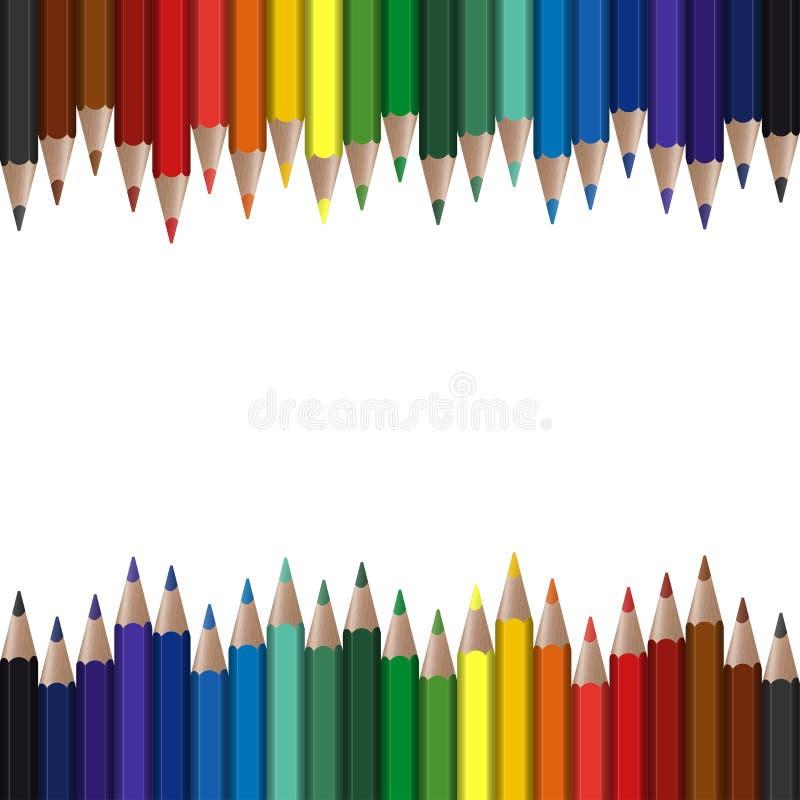 lápices coloreados inconsútiles ilustración del vector