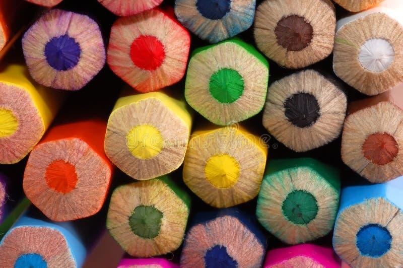 Lápices coloreados macros fotografía de archivo