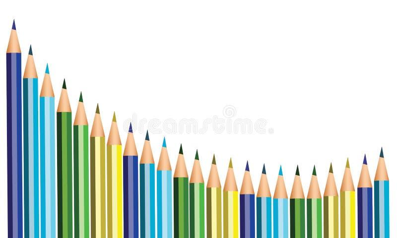 Lápices coloreados para de nuevo a la escuela ilustración del vector