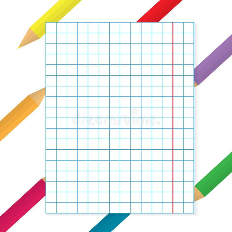Lápices coloridos con el fondo de papel a cuadros ilustración del vector