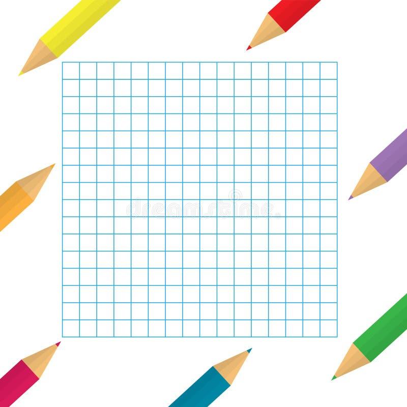 Lápices coloridos con el fondo de papel a cuadros libre illustration