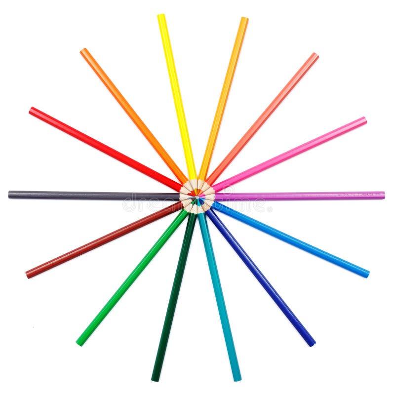 Lápices coloridos en el arreglo radial fotografía de archivo libre de regalías