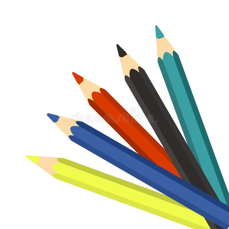 Lápices coloridos en un fondo blanco libre illustration