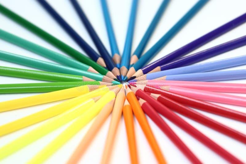 lápices de madera de un color del sistema foto de archivo libre de regalías