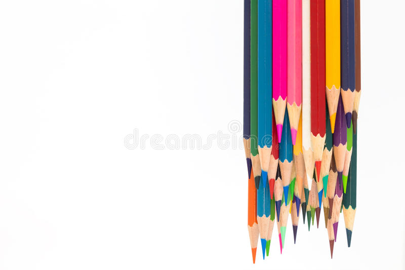 Lápices de madera del color múltiple en blanco imágenes de archivo libres de regalías