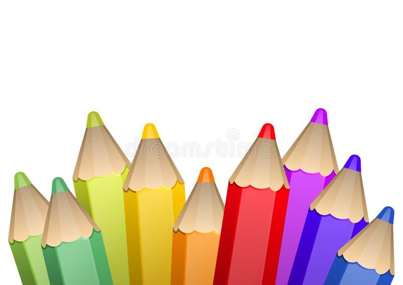 Lápices de madera realistas del color 3d ilustración del vector