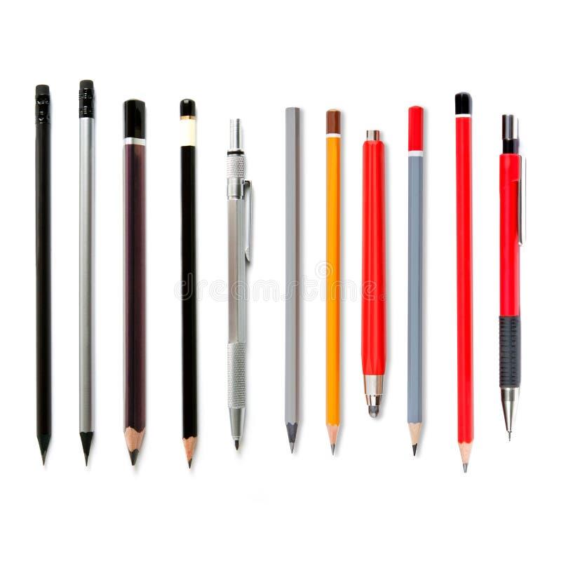 Lápices de ventaja aislados en blanco, varios lápices, penc mecánico foto de archivo