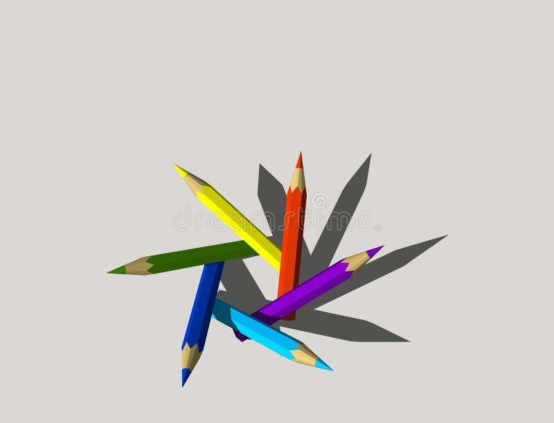 Lápices del color Aislado en fondo gris illustr de la representación 3D ilustración del vector