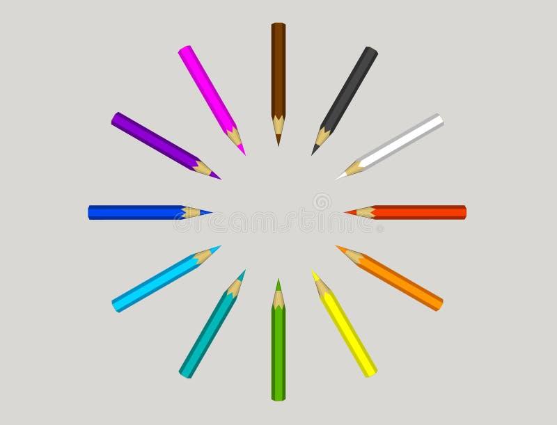 Lápices del color Aislado en fondo gris ilustración de la representación 3d stock de ilustración