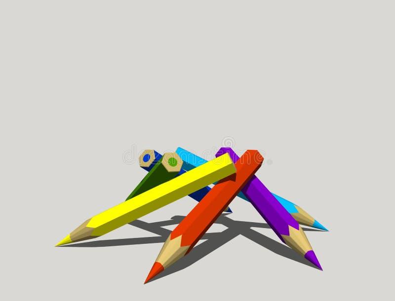 Lápices del color Aislado en fondo gris representación 3d stock de ilustración