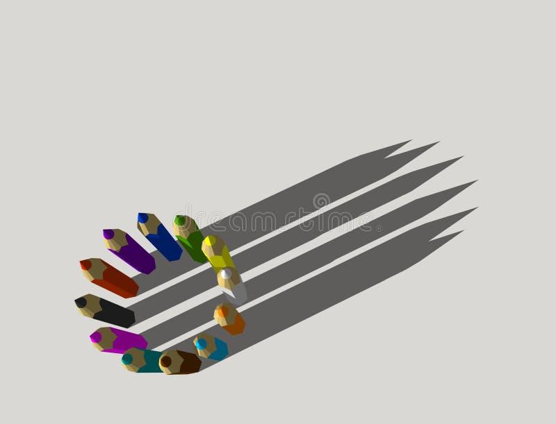 Lápices del color Aislado en fondo gris representación 3d libre illustration