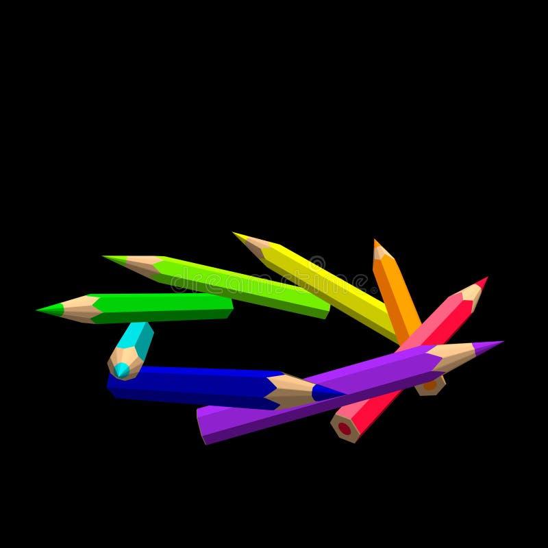 Lápices del color Aislado en fondo negro Enfermedad colorida del vector libre illustration