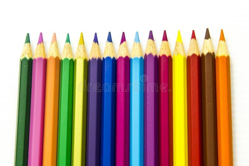 Lápices del color aislados en el fondo blanco fotografía de archivo libre de regalías