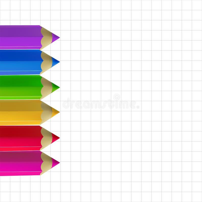 Lápices del color en el papel del copia-libro libre illustration