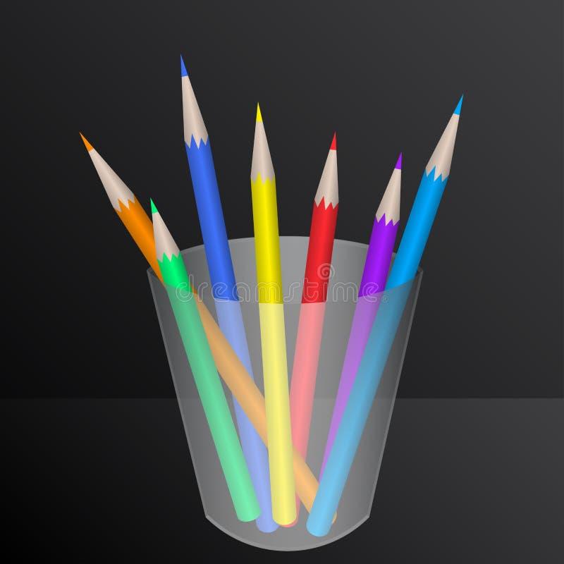 Lápices del color en envase stock de ilustración