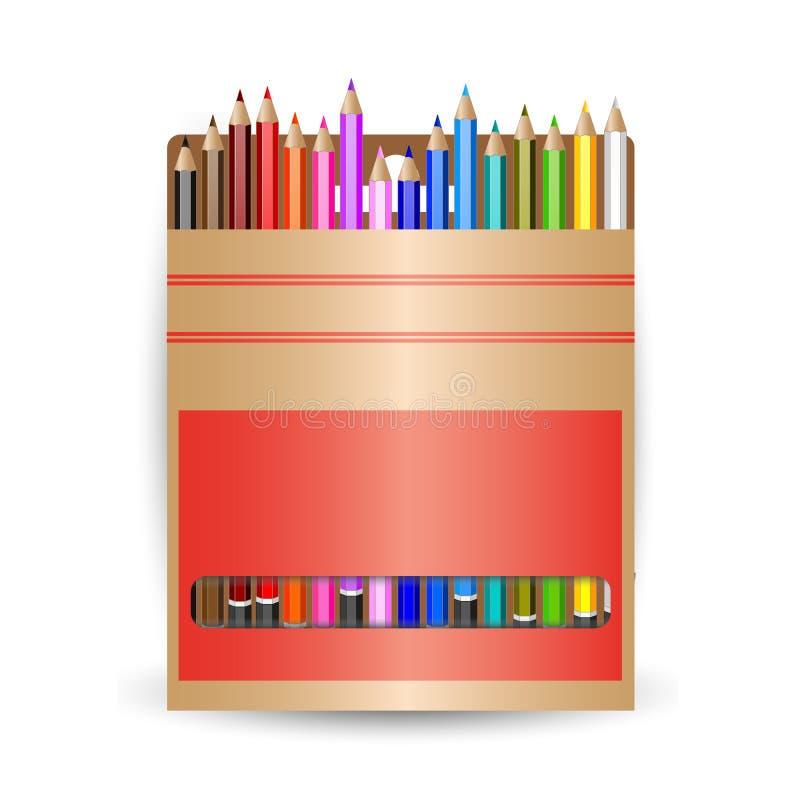 Lápices del embalaje Un conjunto de lápices coloreados stock de ilustración