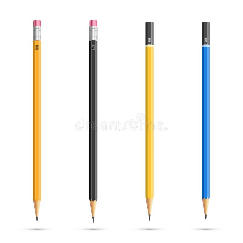 Lápices fijados stock de ilustración