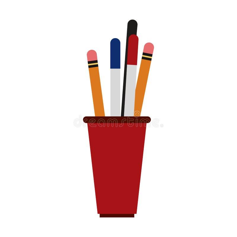 Lápices y pluma en taza stock de ilustración