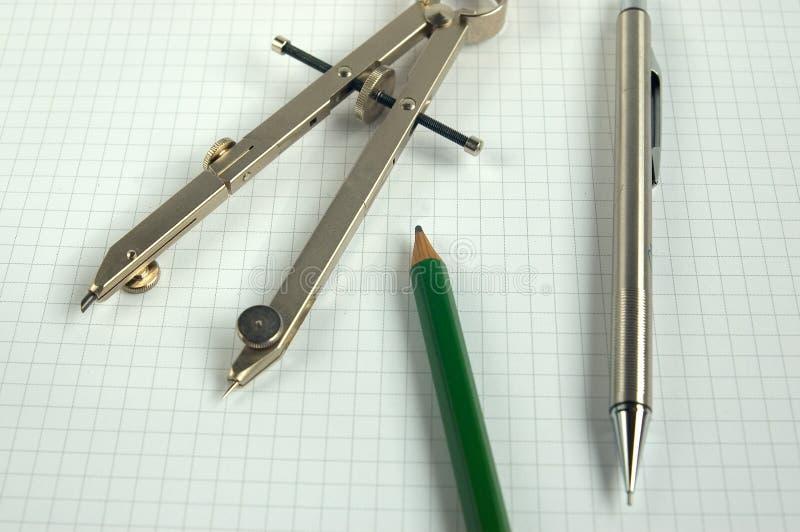Lápices y regla imagen de archivo libre de regalías