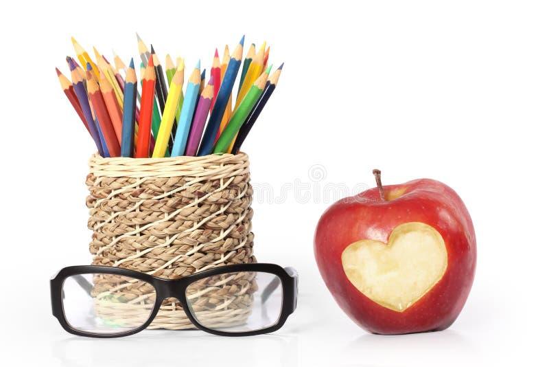 Lápices y vidrios stock de ilustración