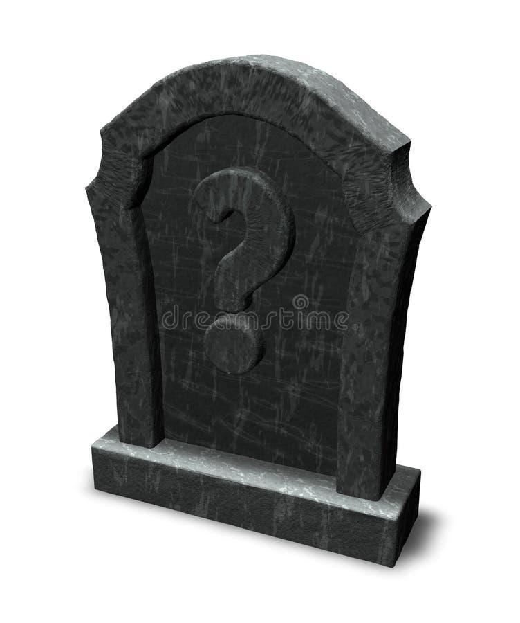 Lápida mortuaria con el signo de interrogación stock de ilustración
