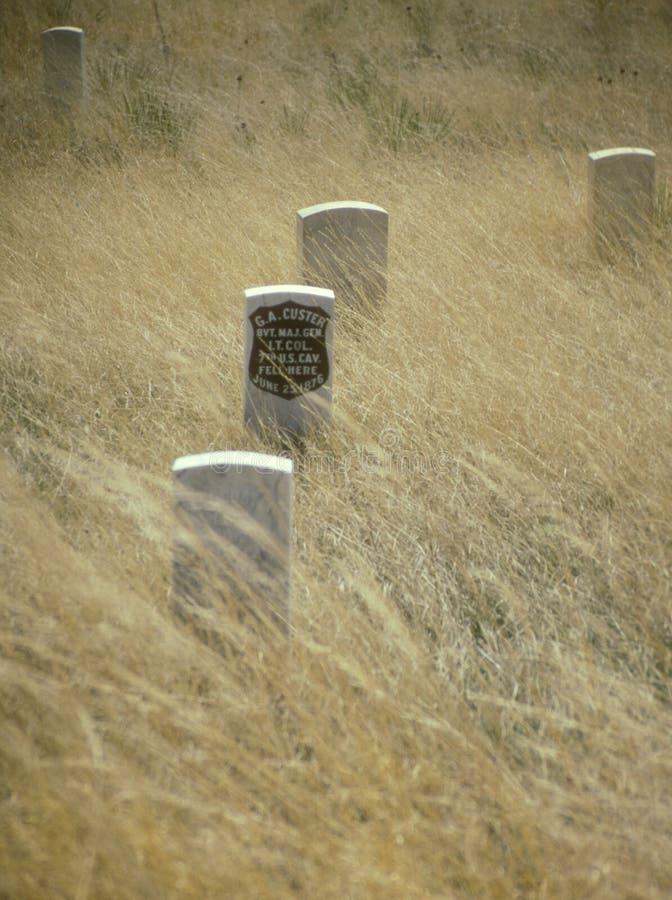 Lápida mortuaria de George Custer en poco Bighorn fotos de archivo libres de regalías