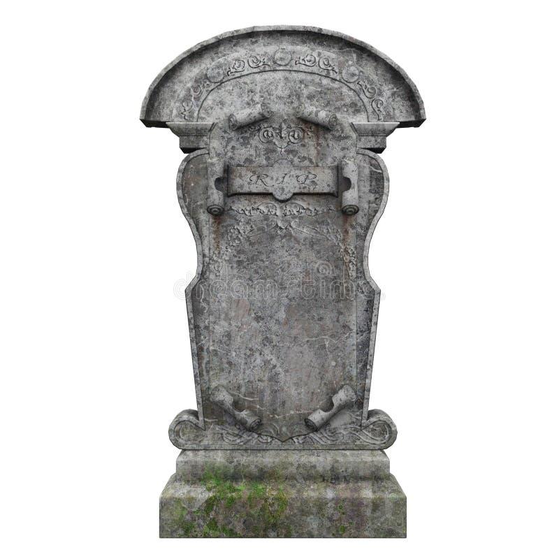 Lápida mortuaria en el fondo blanco stock de ilustración