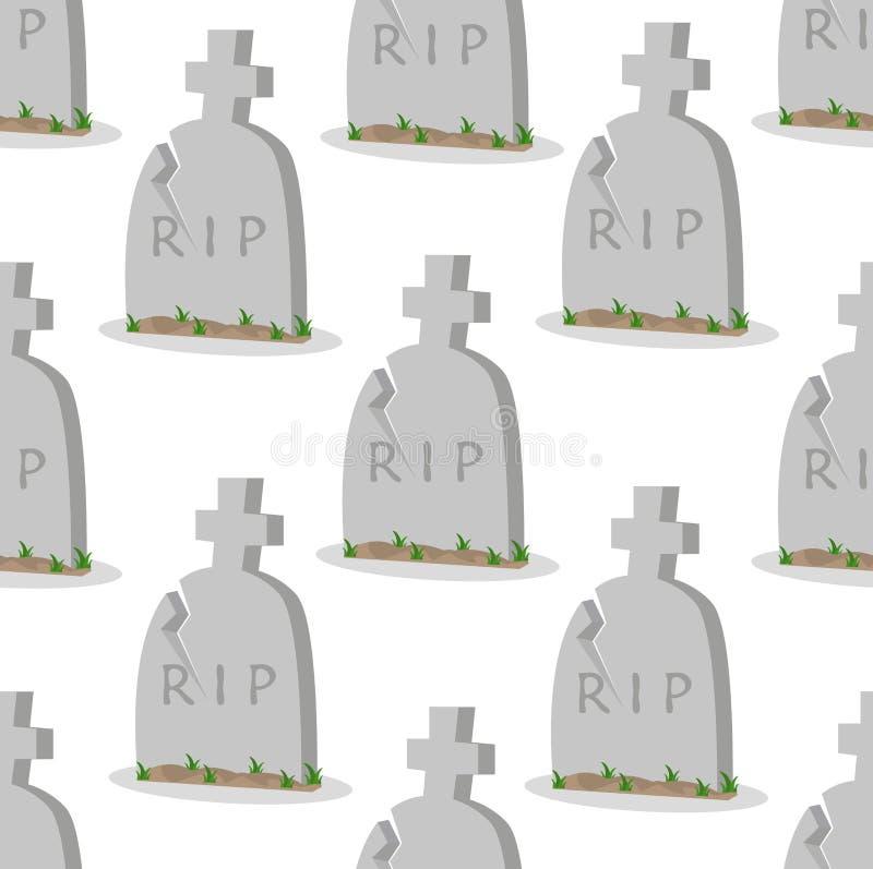 L?pida mortuaria vieja con el modelo incons?til de las grietas libre illustration