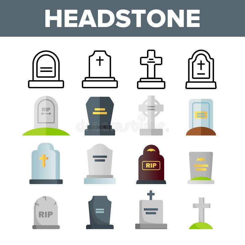 L?pida mortuoria, l?pida mortuaria, sistema de los iconos del color del vector de la piedra sepulcral ilustración del vector