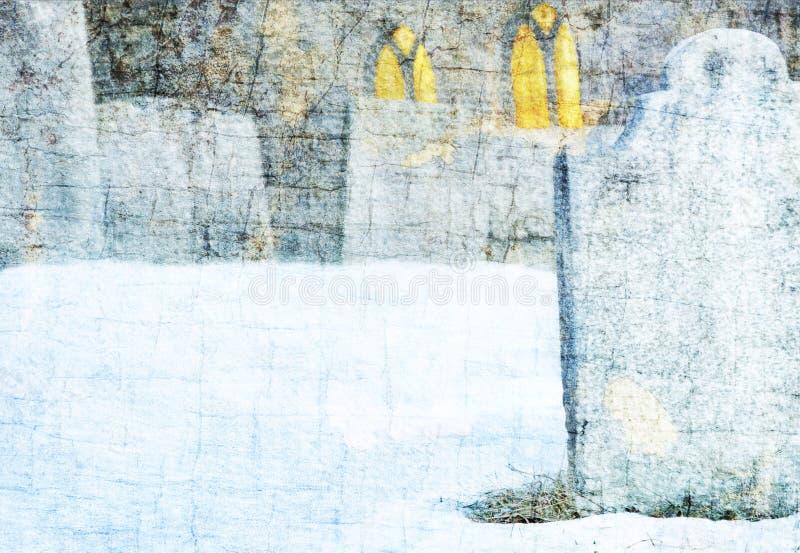 Lápidas mortuarias e iglesia en el cementerio Nevado imágenes de archivo libres de regalías