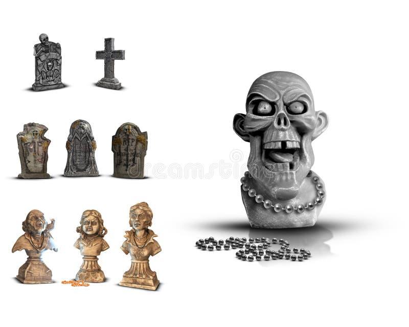 Lápidas mortuorias de Halloween ilustración del vector