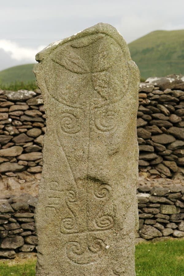 Lápide celta antiga fotografia de stock