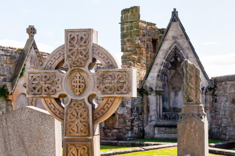 Lápide da cruz celta imagens de stock