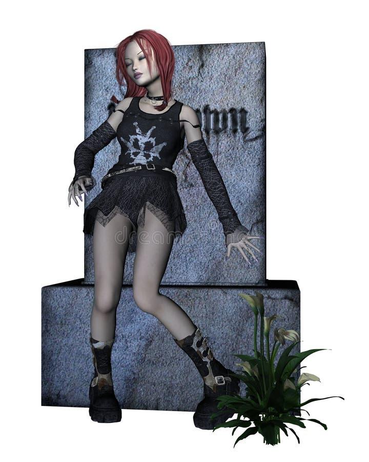 Lápide da menina de Goth ilustração stock