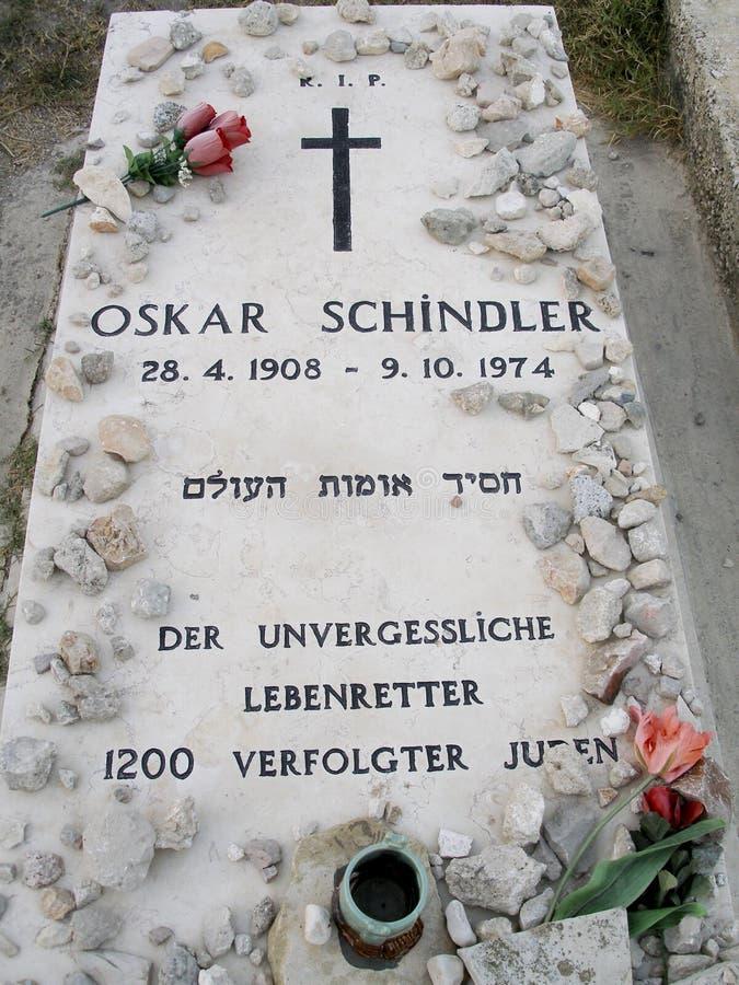 Lápide de Oskar Schindler em Jerusalem imagem de stock