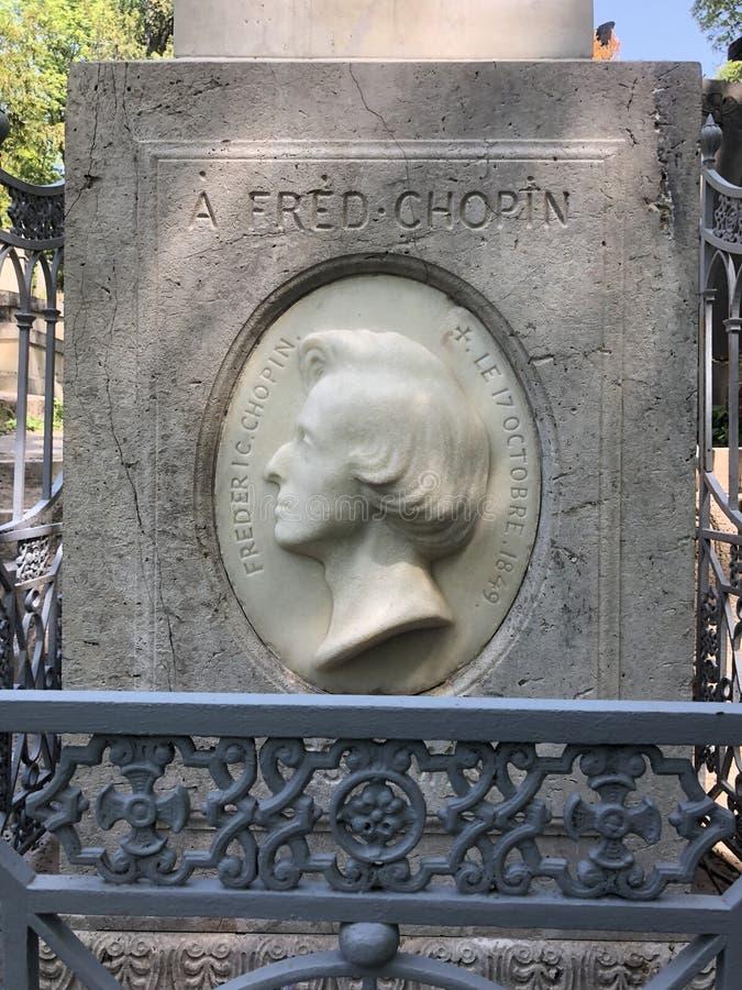 Lápide do ` s de Chopin, Paris fotos de stock