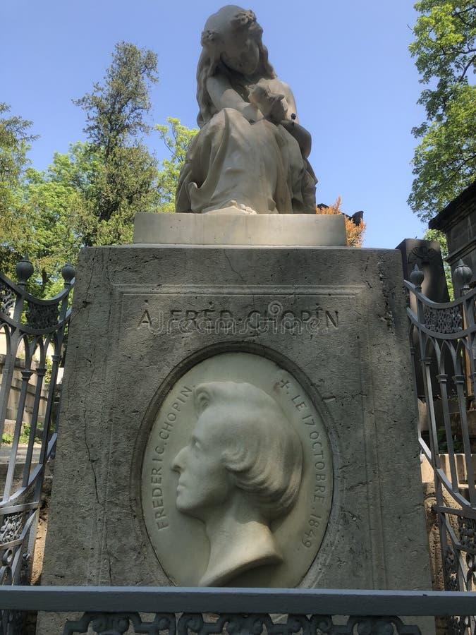 Lápide do ` s de Chopin, Paris imagem de stock