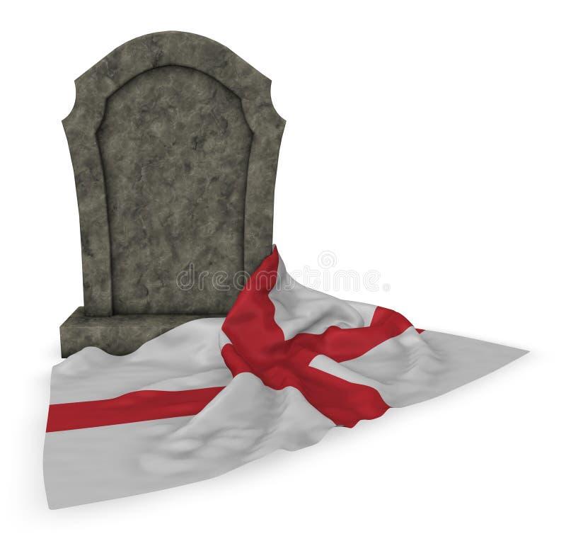 Lápide e bandeira de Inglaterra ilustração royalty free