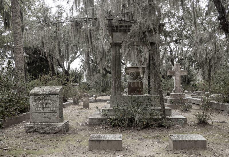 Lápide em Bonaventure Cemetery fotografia de stock