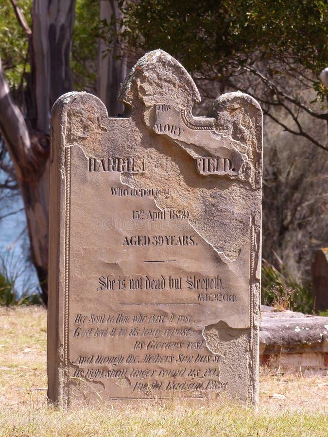 Lápide no porto Arthur Tasmania Isle dos mortos foto de stock