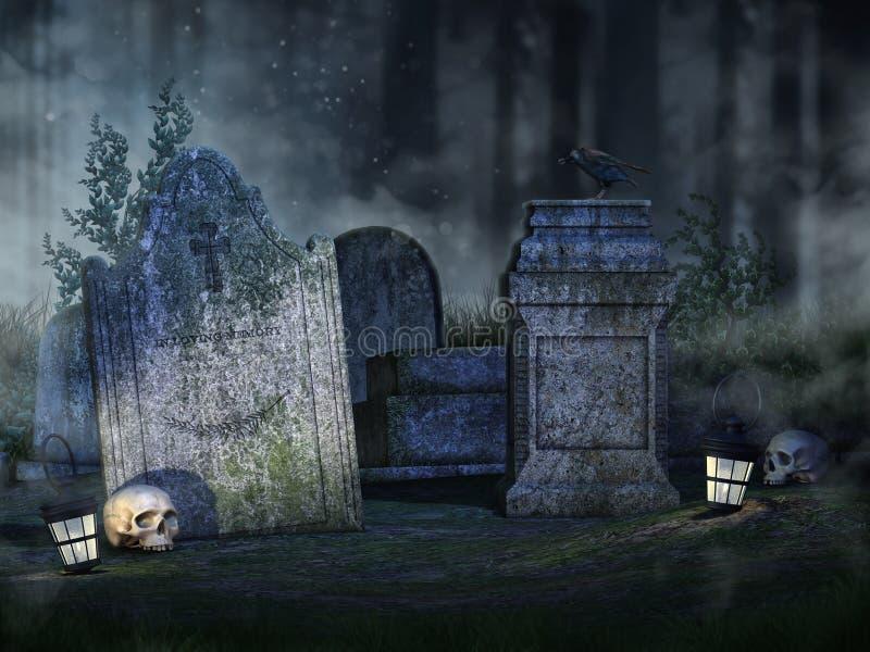 Lápides, crânios e lanternas ilustração stock