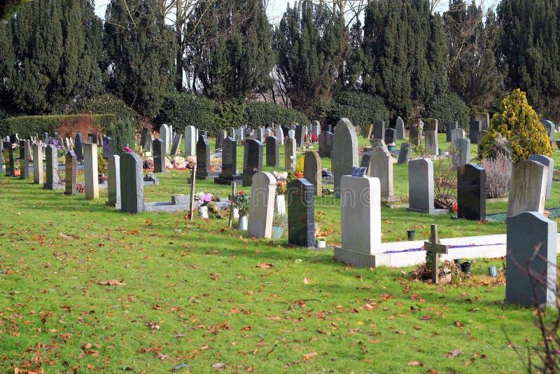 Lápides em um cemitério na luz do sol imagem de stock royalty free