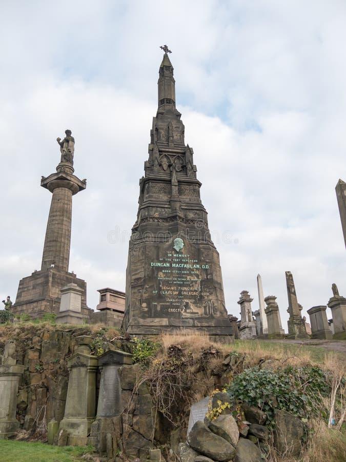 Lápides na necrópolis, Glasgow fotografia de stock