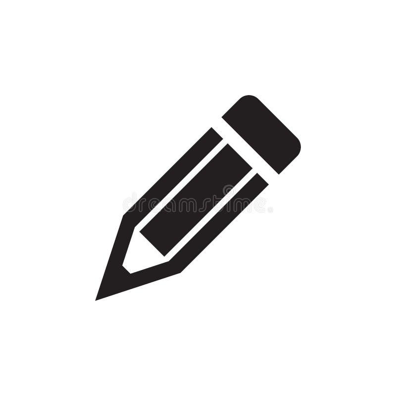 Lápis - ícone preto na ilustração branca do vetor do fundo para o Web site, aplicação móvel, apresentação, infographic pena ilustração stock