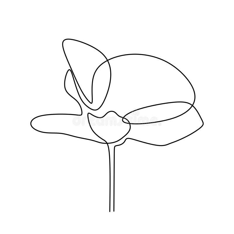A lápis abstrato projeto da flor uma do minimalismo do desenho no estilo minimalista da ilustração branca do vetor do fundo ilustração royalty free