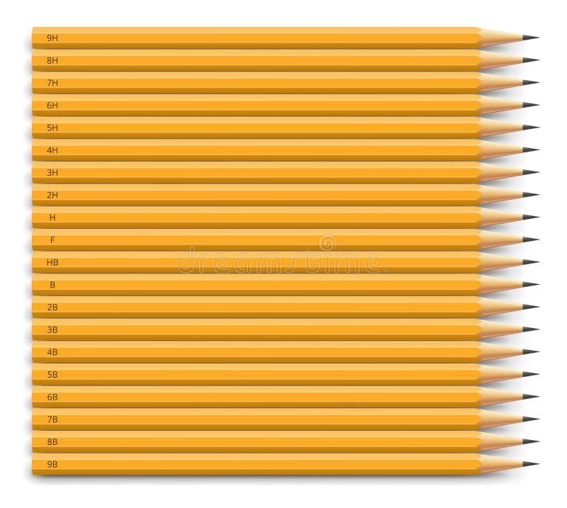 Lápis ajustados ilustração do vetor